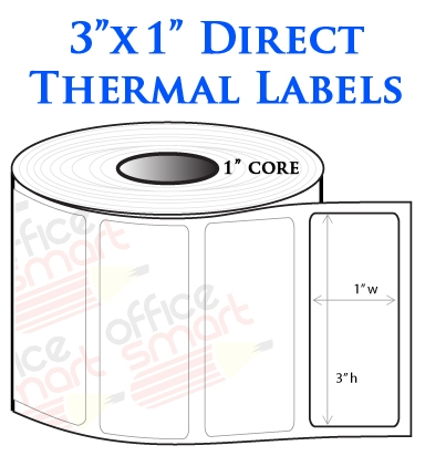6 Rolls - 3x1 Direct Thermal Labels for Zebra Barcode ...